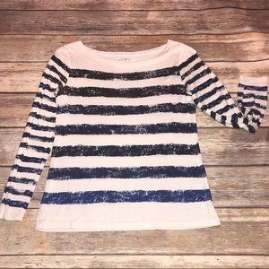 LOFT~Modal Painted Ombré Stripe Long Sleeve Tee~SP